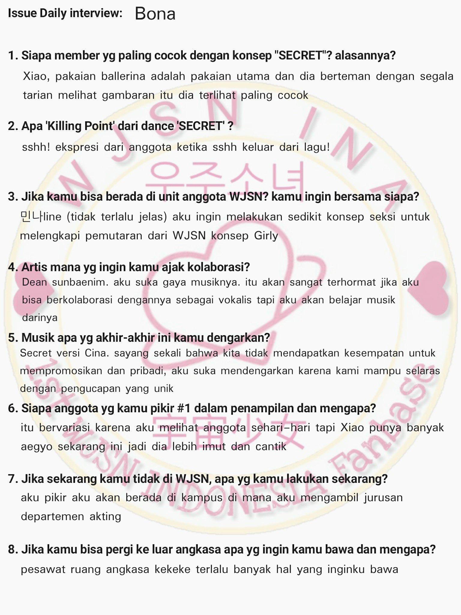 Wjsn Indonesia On Trans  Ec A B Ec A Bc Ec  C Eb    Eb B B Eb    Ec   Ec B C Wjsn Bona Exy Handwritten Interview For Issue Daily Https T Co Brezstbz