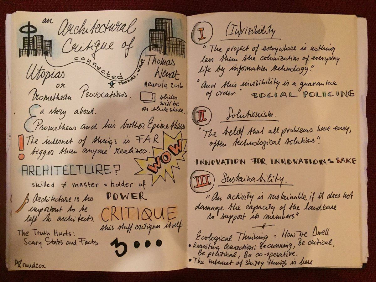 My #sketchnote of @Thomas_Wendt's talk 'An Architectural Critique of Connected Utopias' at @euroia. https://t.co/zvQxgp6rzV