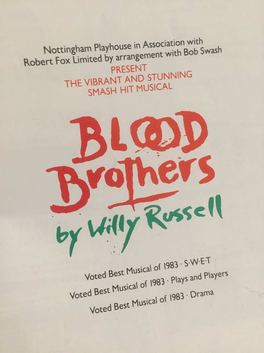 Mother-in-law has kept her old theatre programmes; including this 1983 Blood Brothers with a 25yr old Peter Capaldi. https://t.co/7J7qR7Ph4f