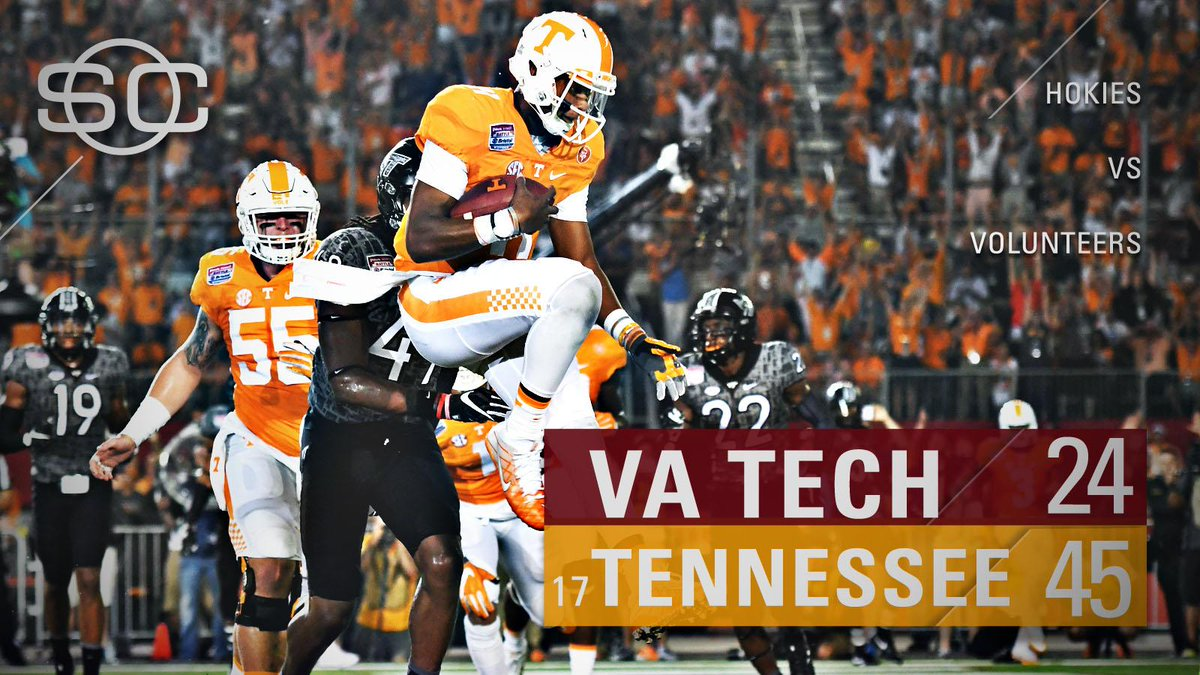 Tennessee defeats Virginia Tech at Bristol Motor Speedway for its 8th win in a row dating back to last season.