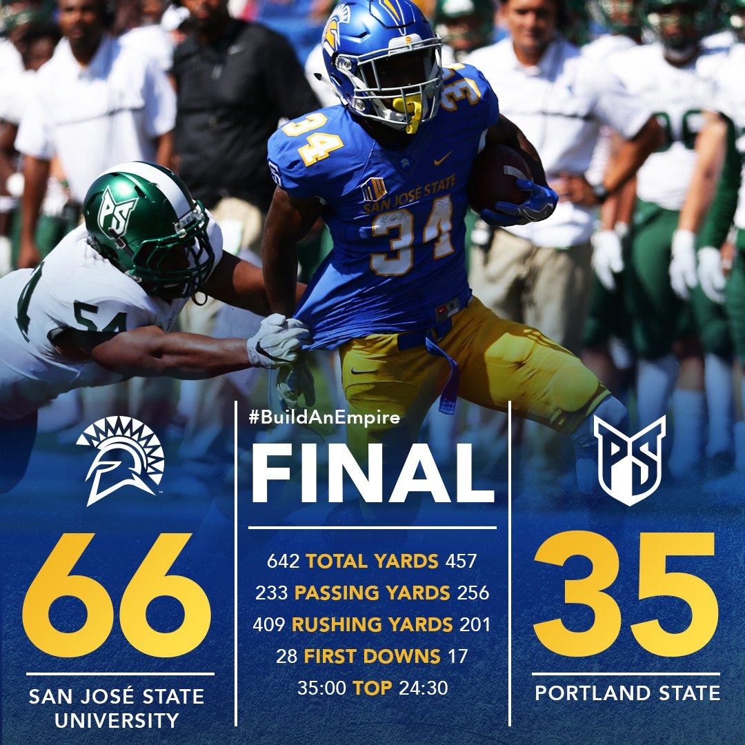 That's a wrap.. @SJSUSpartanFB wins it, 66-35, over Portland State improving to 1-1 #sjsu #gospartans #buildanempire https://t.co/0zhZ3CSgig