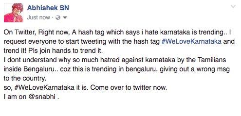 #WeLoveKarnataka My msg to my facebook friends... https://t.co/KUts3Di3PF