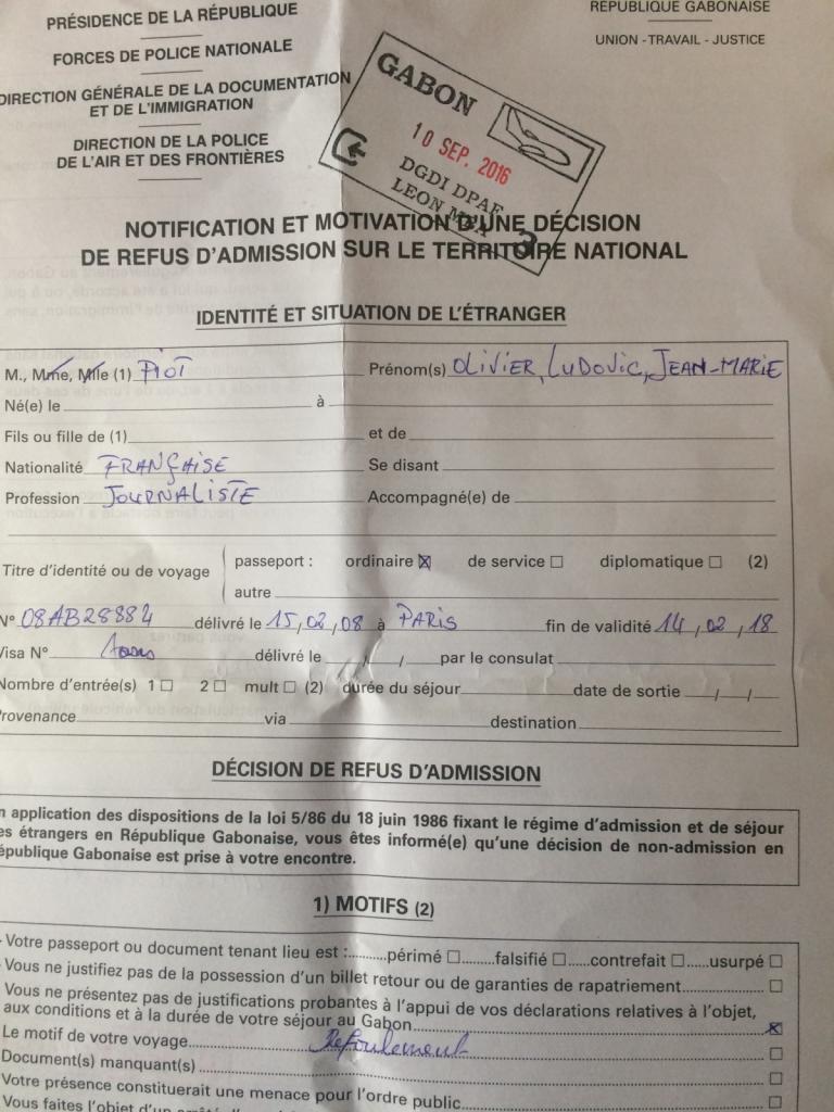 Le reporter du Monde Diplo Olivier Piot refoulé sans ménagement hier soir à son arrivée à Libreville (Gabon) @mdiplo https://t.co/ouRmY8k22v