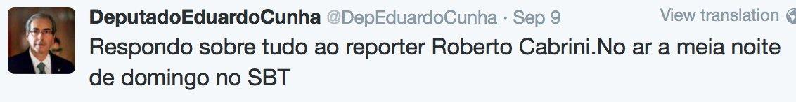 À meia-noite começa o programa de Roberto Cabrini  no qual Eduardo Cunha disse q fala tuuuudo!  A ver. No SBT. #Dica https://t.co/ZpwejqpUoi