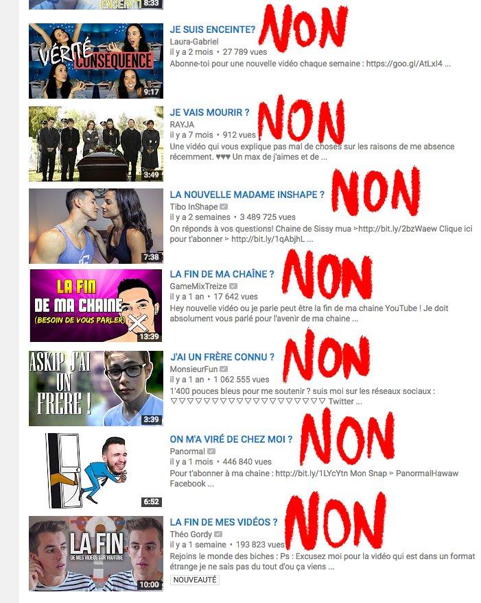 Théorème de YouTube : Sur un titre de vidéo, si on peut répondre 'OUI' ou 'NON' alors la réponse est 'NON'.
