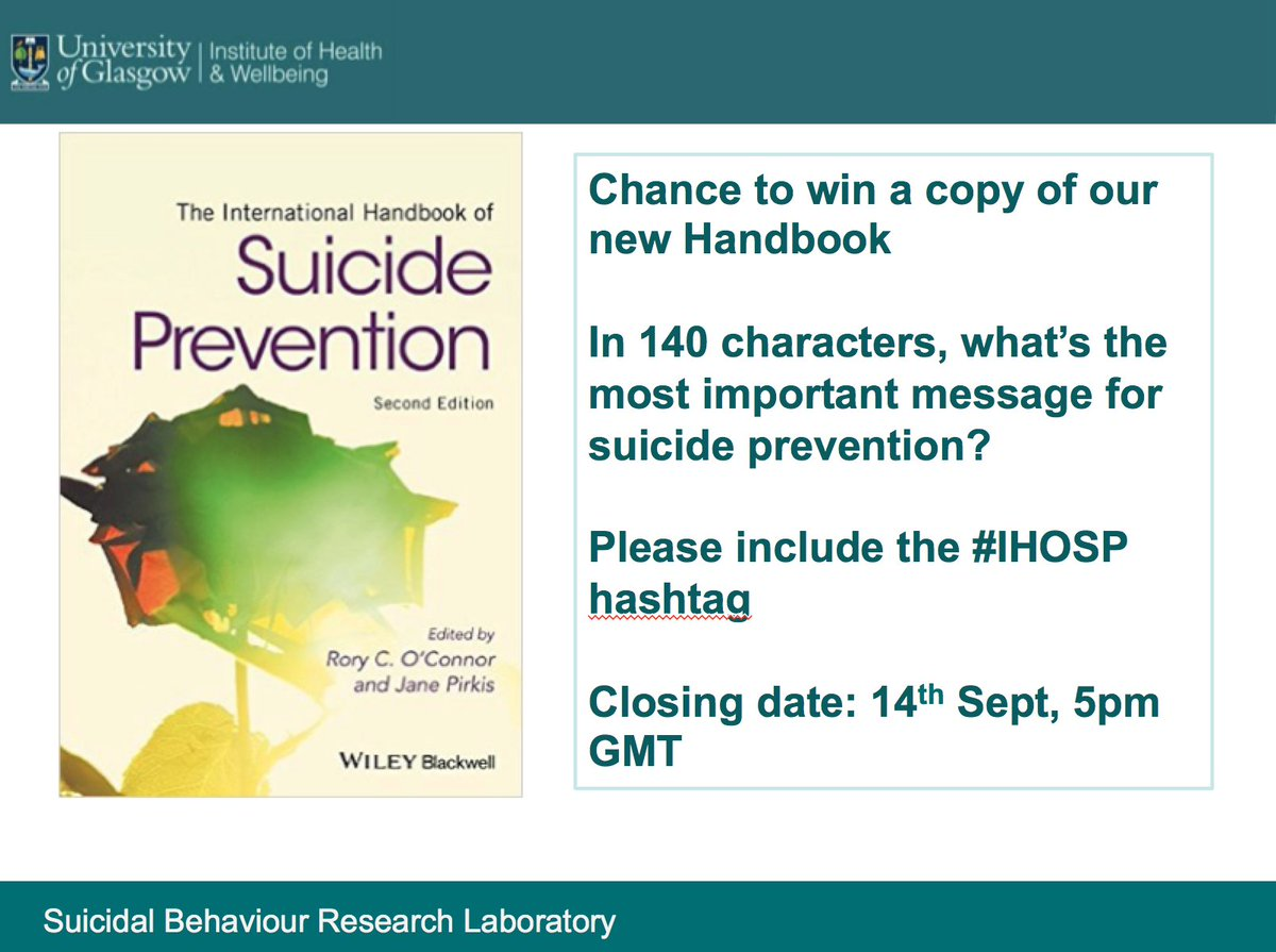 Please RT.  Chance to win a copy of the NEW 2nd edition of the International Handbook of Suicide Prevention #IHOSP https://t.co/QBF1ZSkInH