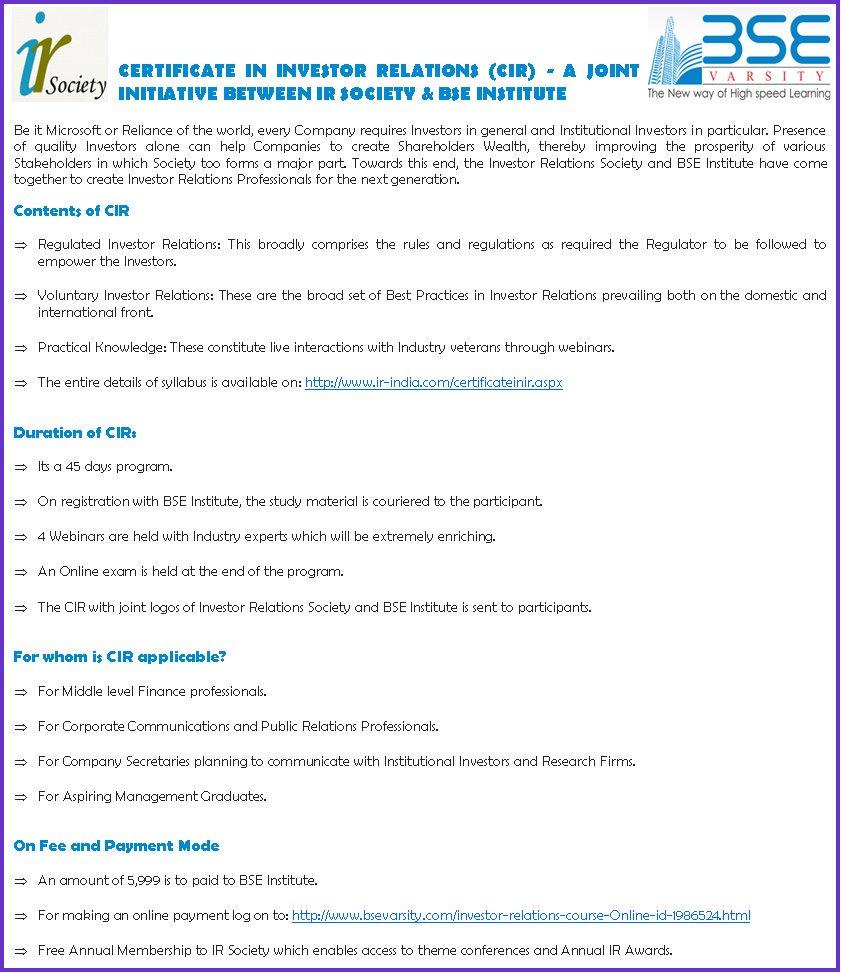 Sashidhar mannava sashimannava twitter bse institute ir society gear up for launch of 3rd batch of certification in investor relationsbseinstitutepicitterzxrmuhb3js xflitez Gallery