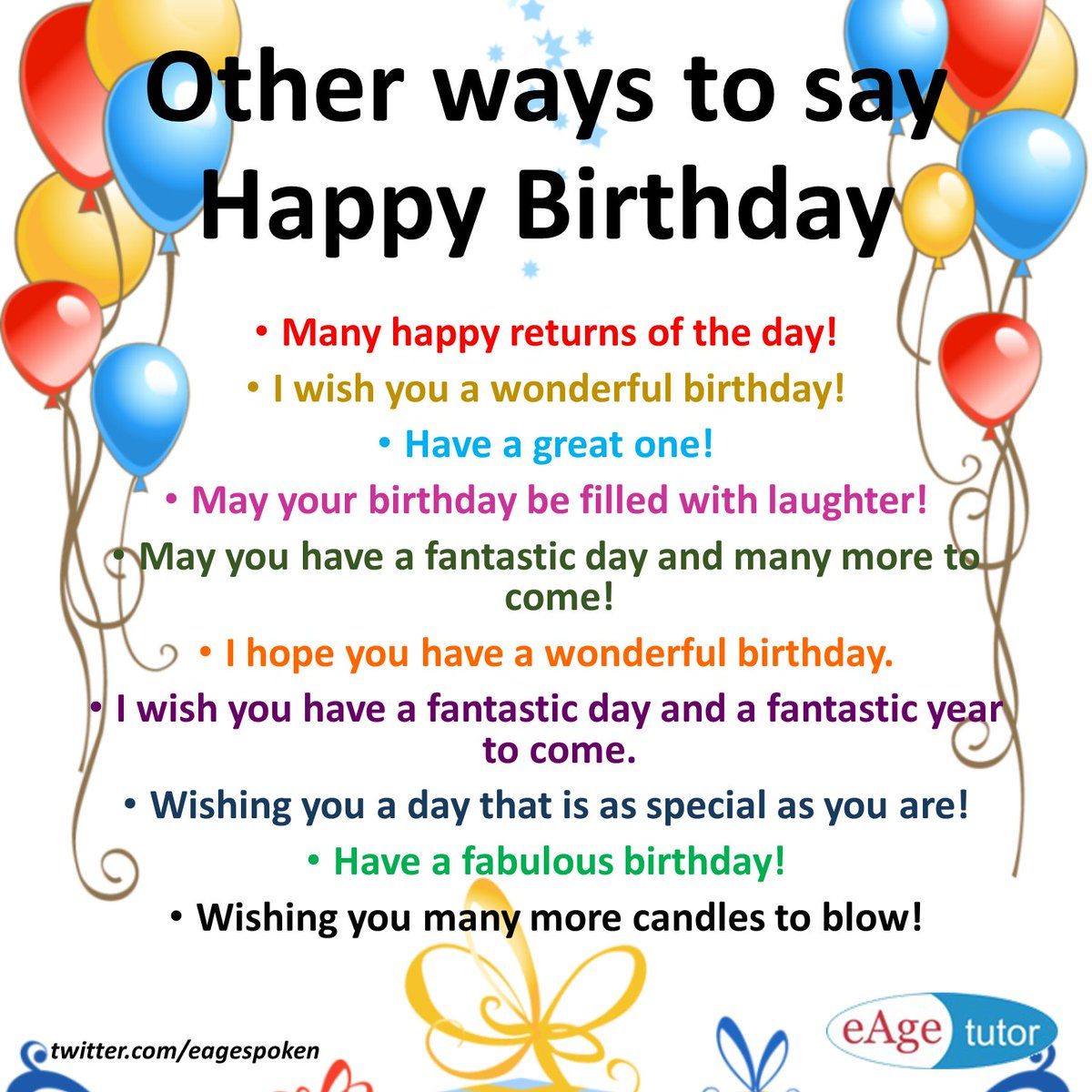 Eage Spoken English On Twitter Other Ways To Say Happy Birthday Wordsforbirthday Eagespokenenglish