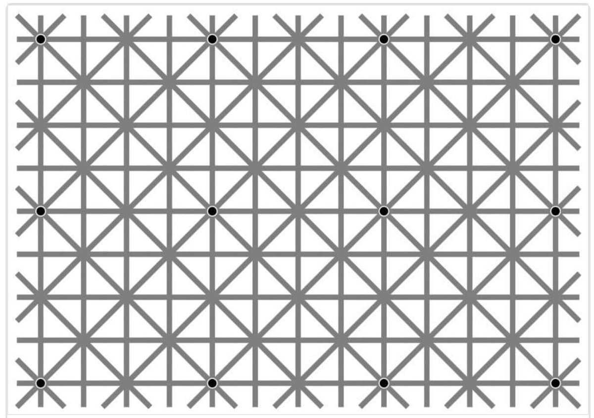Uh, wow. Ninio's extinction illusion: 12 black dots on this image, you can only see one or two at once.. Freaky! https://t.co/dmp1HkqmTM