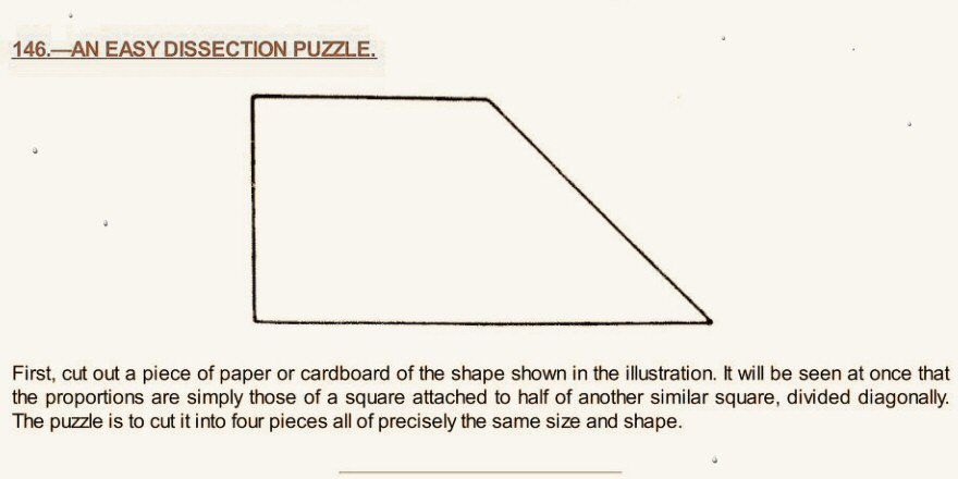 Cliff Pickover On Twitter Dissection Puzzle The Is To Cut