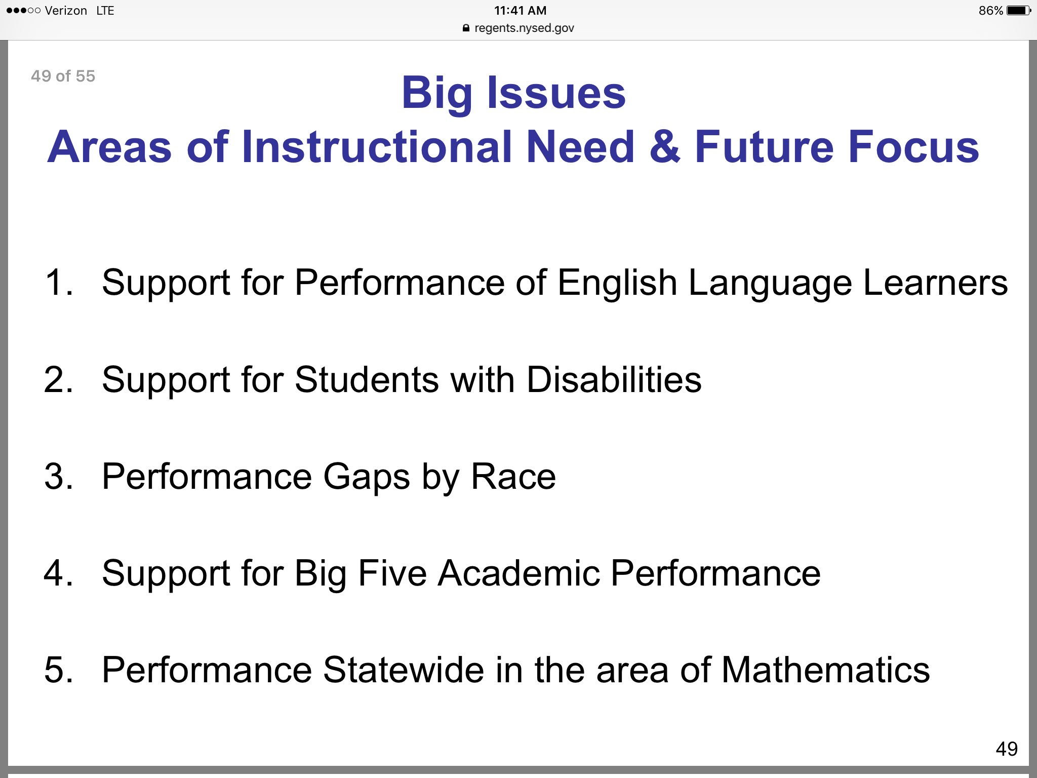 "From presentation on results, @NYSEDNews ""Big Issues"" to address, as FYI @NYSPTA https://t.co/D9EcmLO9pX"