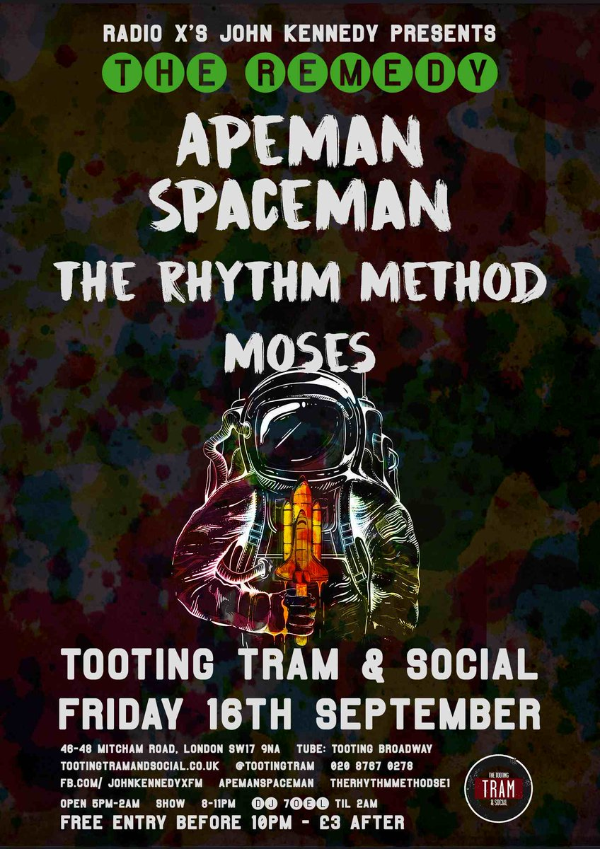 Back this Friday: The Remedy @TootingTram w/ @apeman_spaceman @thrhythmmthd & @MosesOfficialUK! Hope u can join us! https://t.co/ZtC9NLg8GH