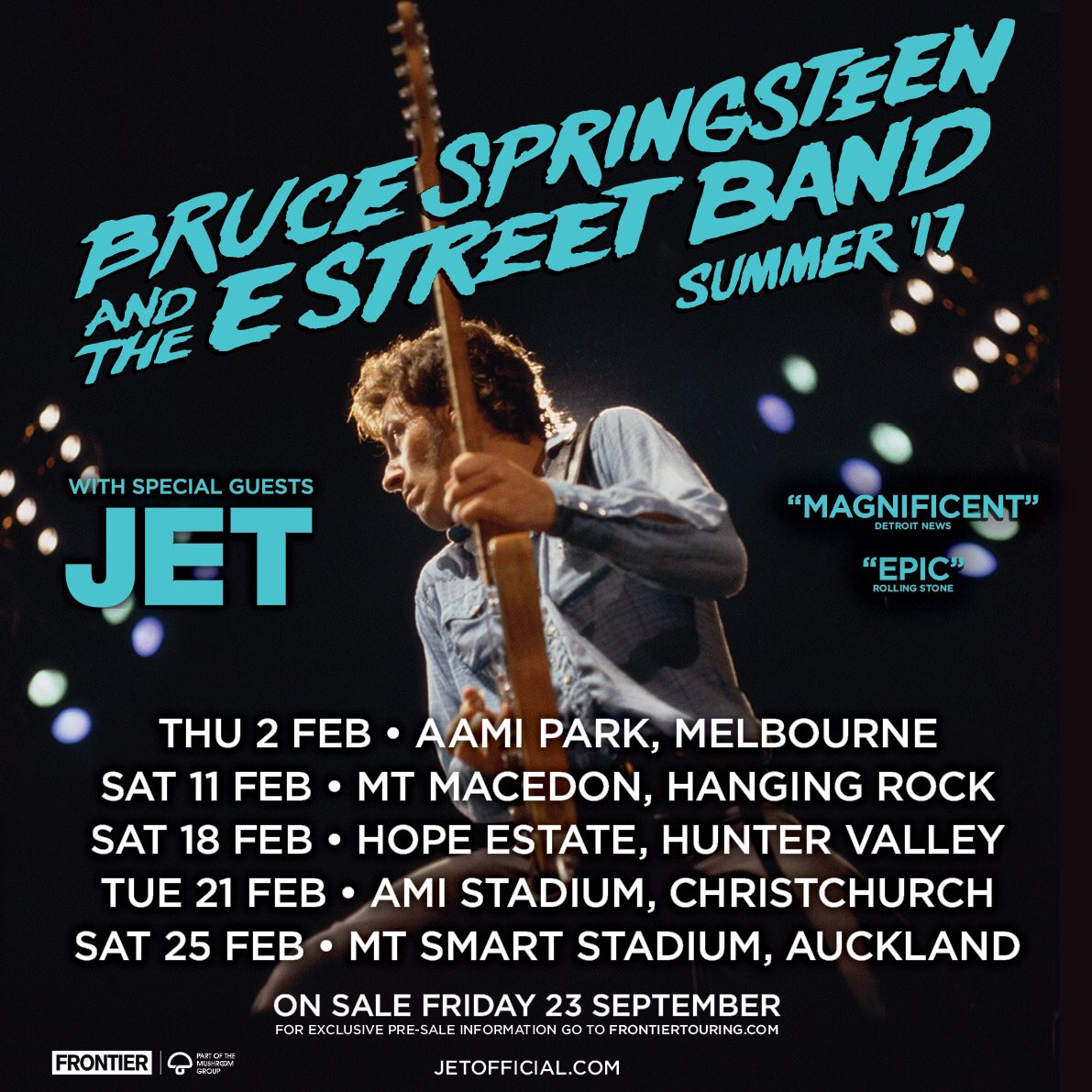 When The Boss calls, you can't say no… 5 shows in Australia & NZ February 2017    Full details @frontiertouring https://t.co/MjRsvbm9wq