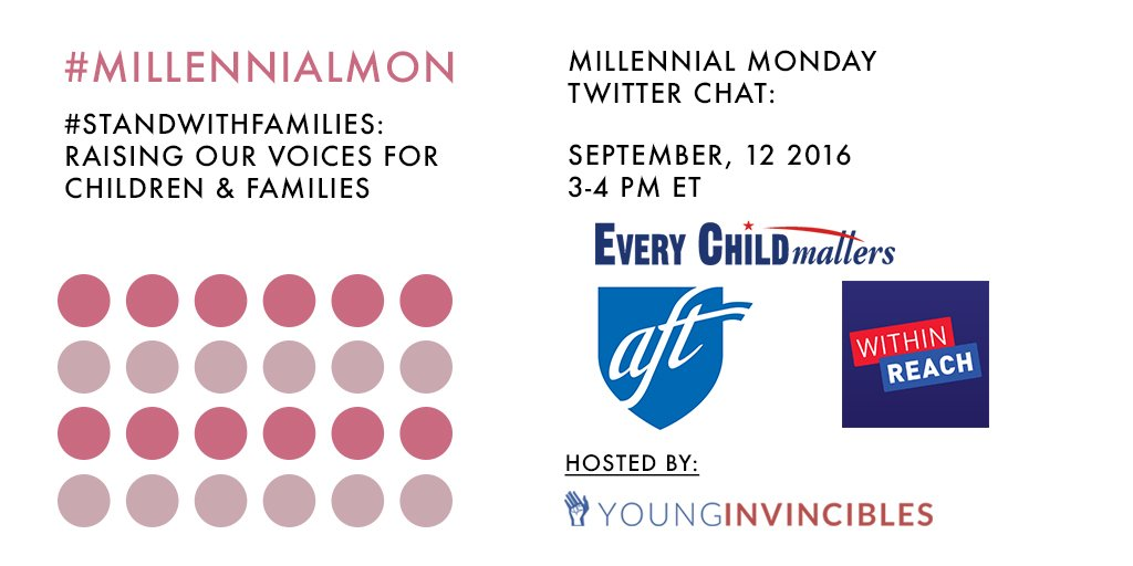 Welcome to #MillennialMon! Today's topic: raising our voices for children and families. https://t.co/zB26x6lxAG