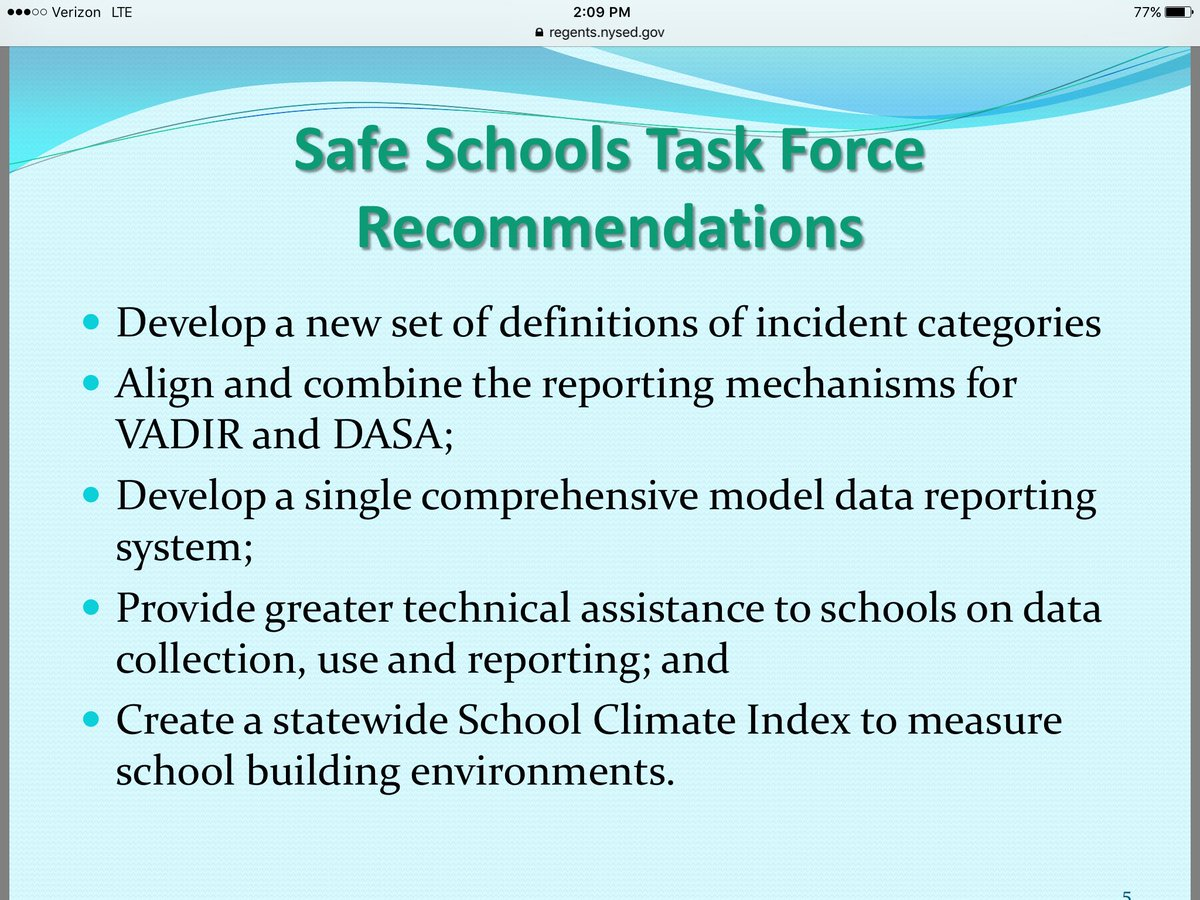 Safe schools task force recommendations, see attached @NYSEDNews https://t.co/LtKzcQEJy2
