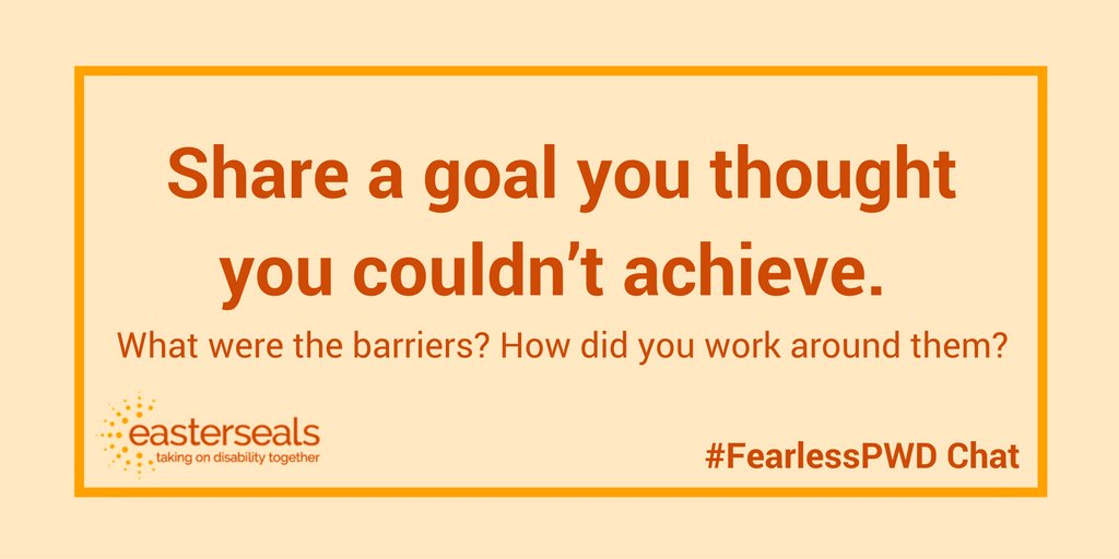 Q2. Share a goal you thought you couldn't achieve. Are there barriers? How did you work around them? #fearlesspwd https://t.co/1C7bfXL6QS