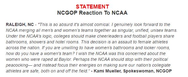 Here's the NC GOP's response to the NCAA. I made sure it was not a parody account. https://t.co/BD8Ak8Rx0q