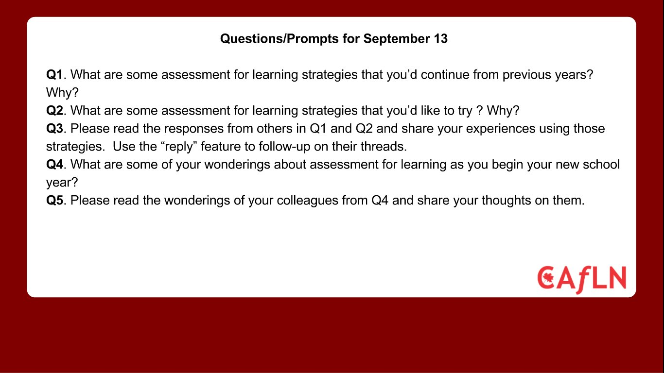 Questions for #caflnchat tomorrow at 8 EDT. #colchat #cdnedchat #sblchat https://t.co/ueNUrcKIxq