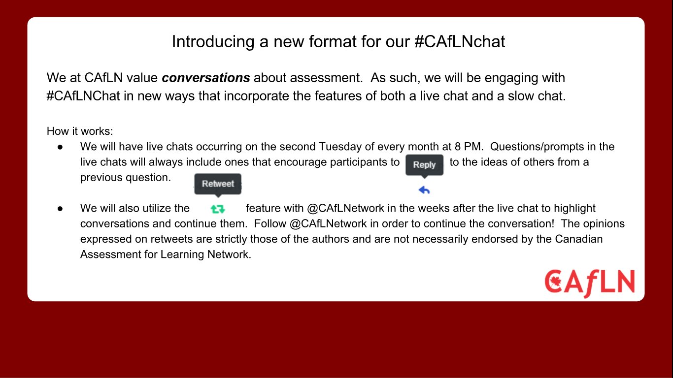 New format for #caflnchat Tues 13th at 8 EDT. Mix of fast chat and slow chat. #colchat #sblchat #cdnedchat #ONedchat https://t.co/i1wb7trqNA