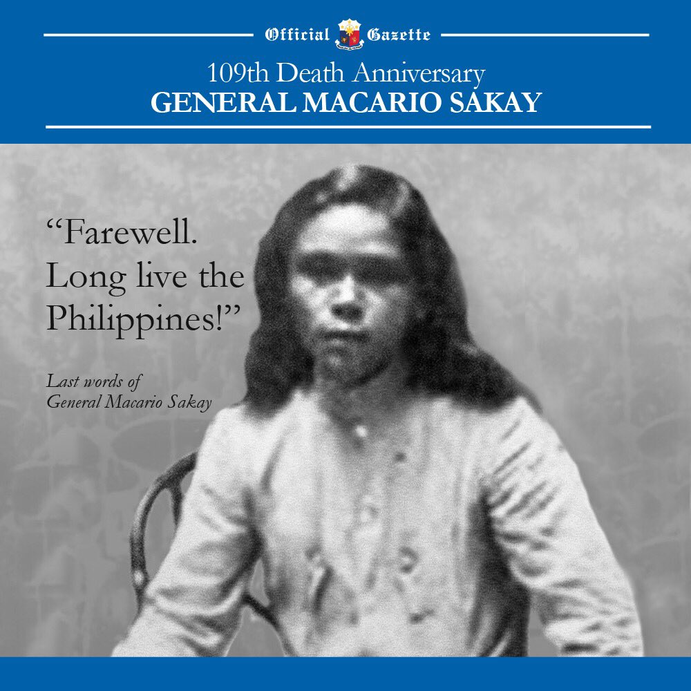 "Today is the 109th death anniversary of Gen. Macario Sakay, a Katipunero & the president of the ""Tagalog Republic"". https://t.co/3mvXxTA8Oz"