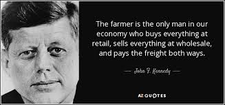 """A farmer buys at retail, sells at wholesale and pays freight both ways."" JFK @S_Sivakumar #agriculture https://t.co/5nMGqGz0TU"