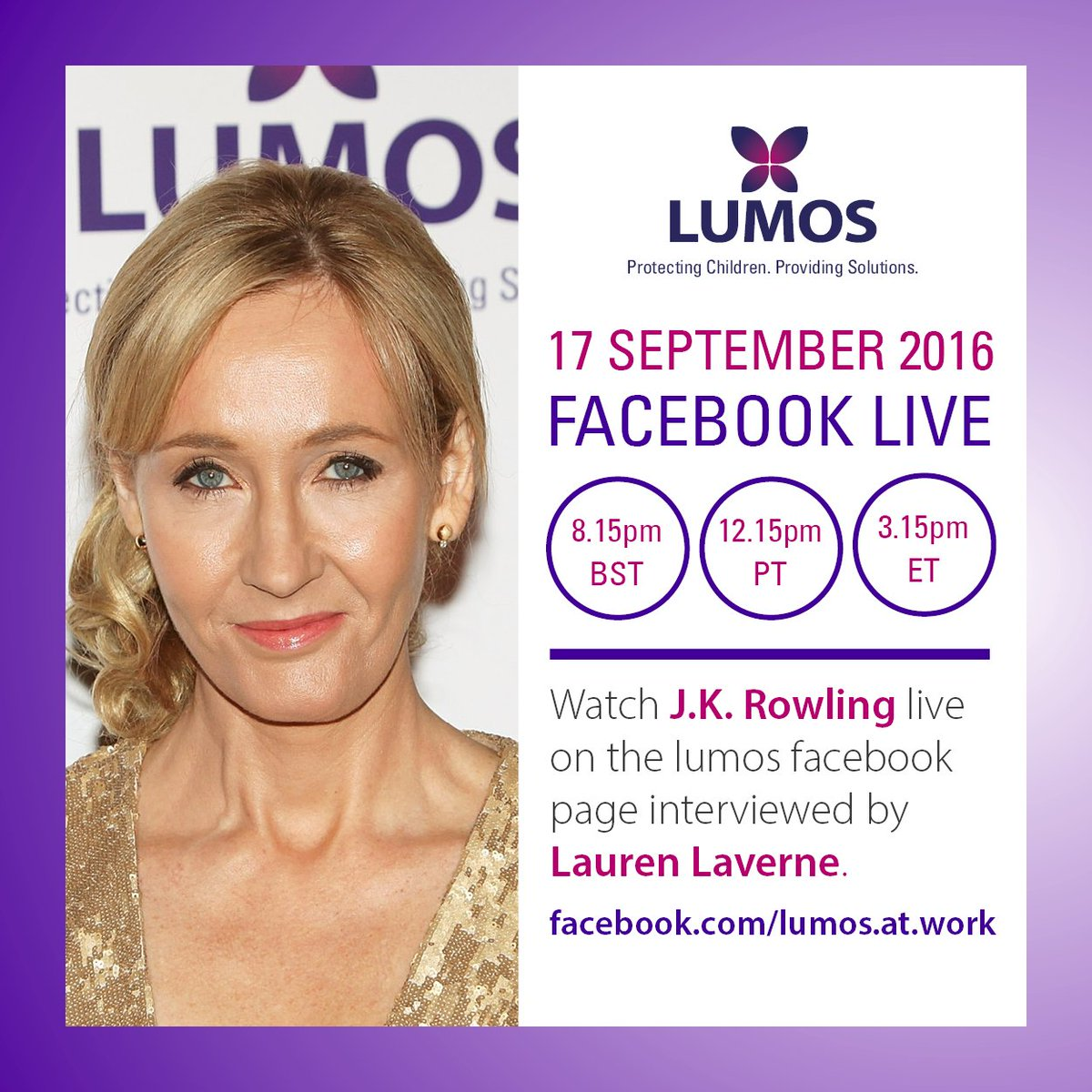 This Saturday @jk_rowling will be live on Facebook to talk all things Lumos w @laurenlaverne https://t.co/6Xl8qqLVhj https://t.co/CDUF3mUeqZ