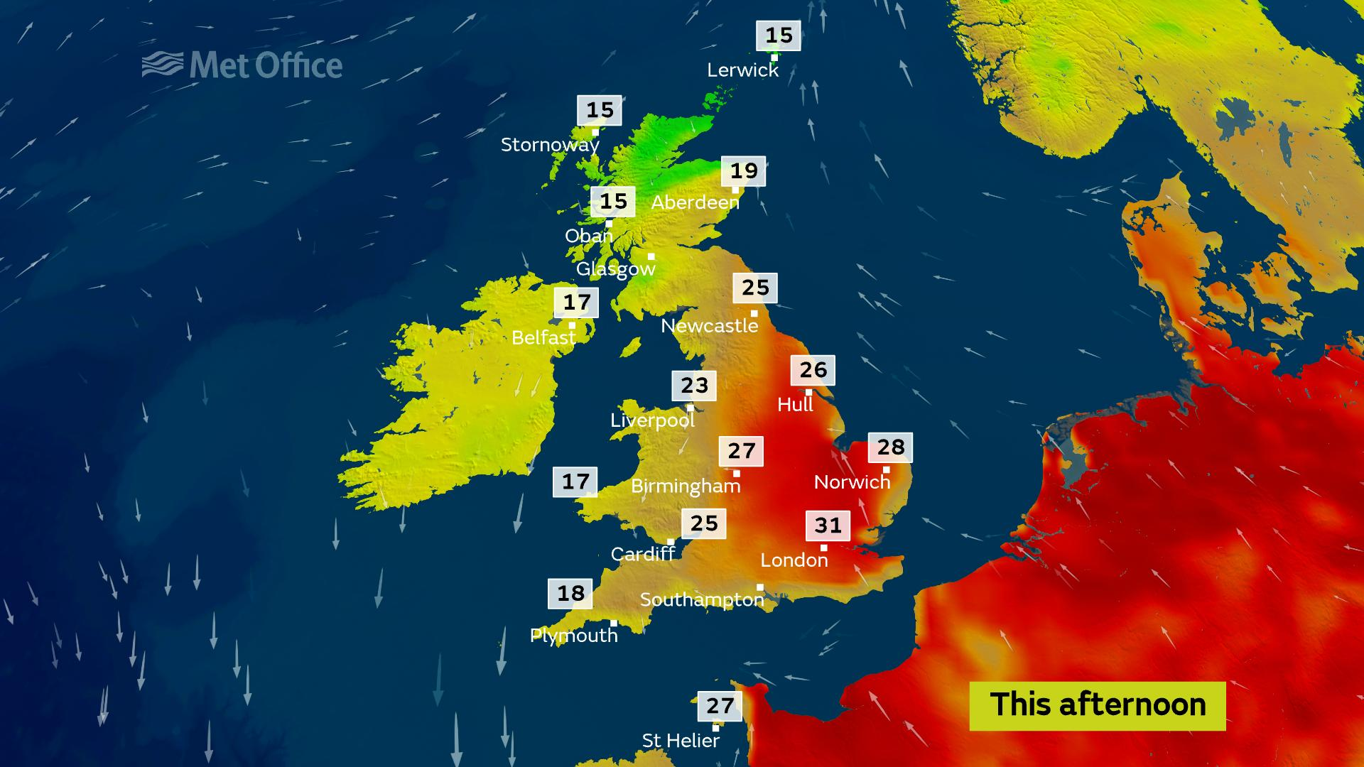 The Met Office have issued a weather warning for today as temperatures soar