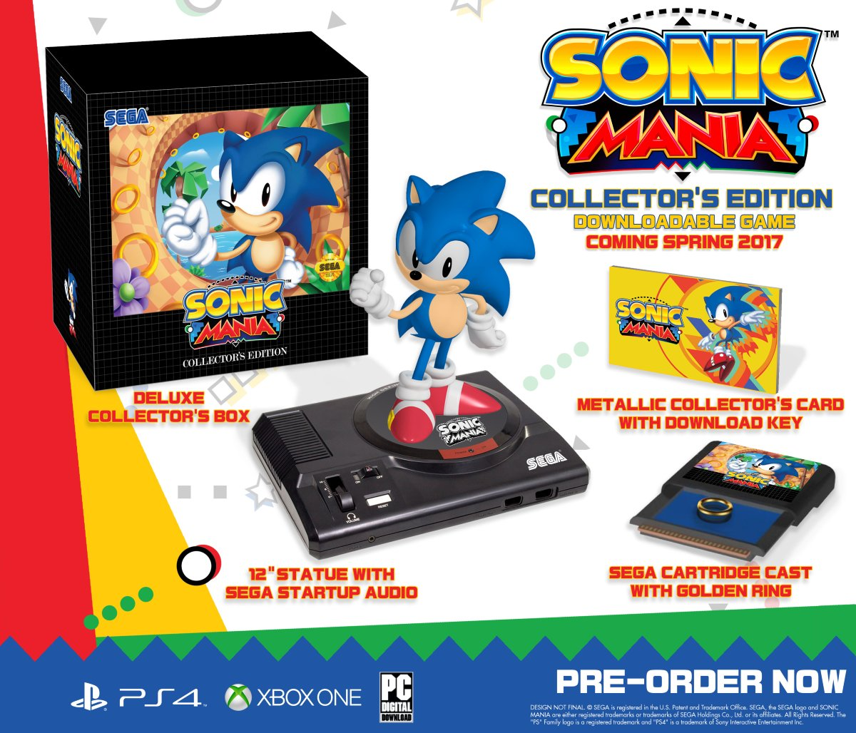 The newly announced Sonic Mania collector's edition keeps