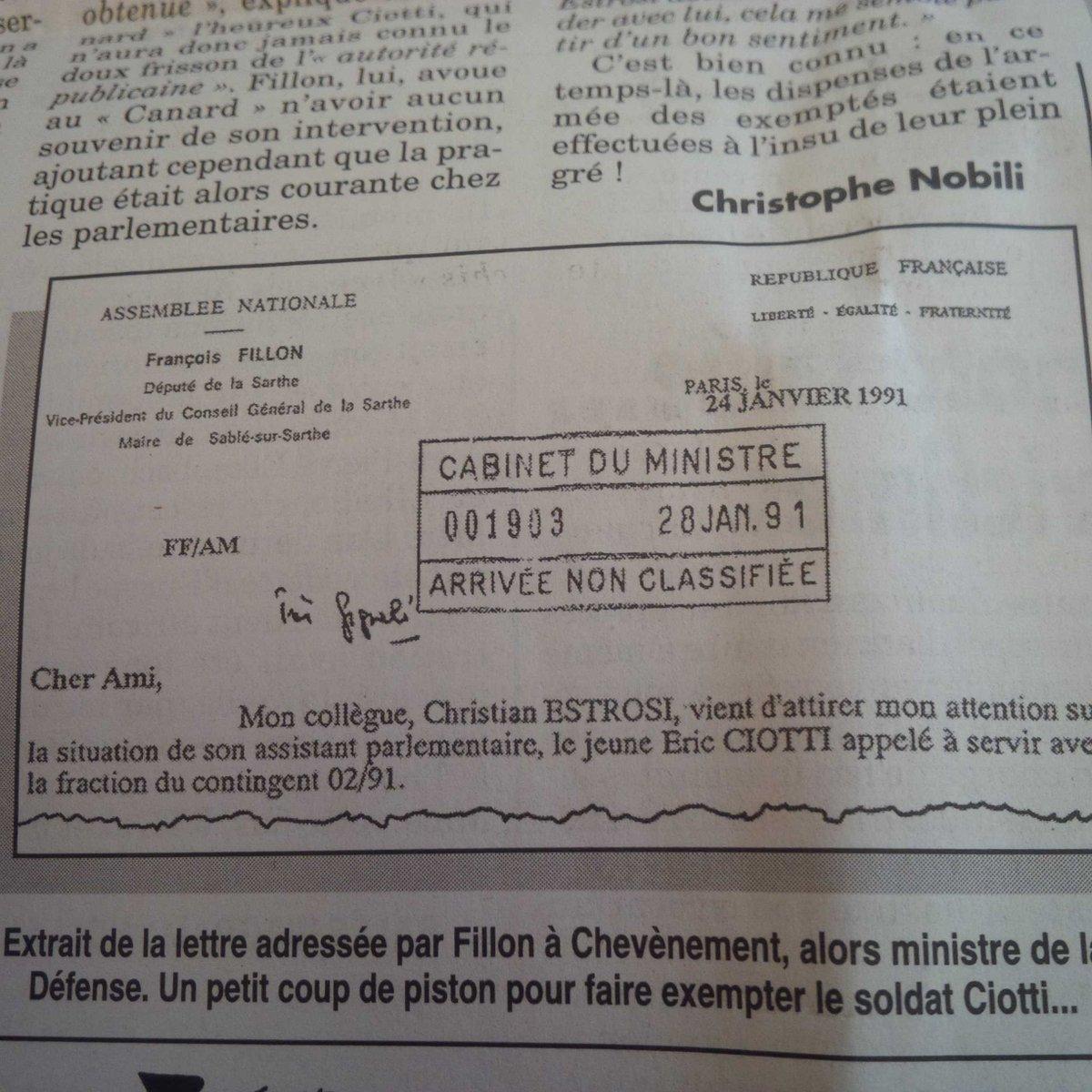 Fillon demande exemption de service militaire pour Ciotti