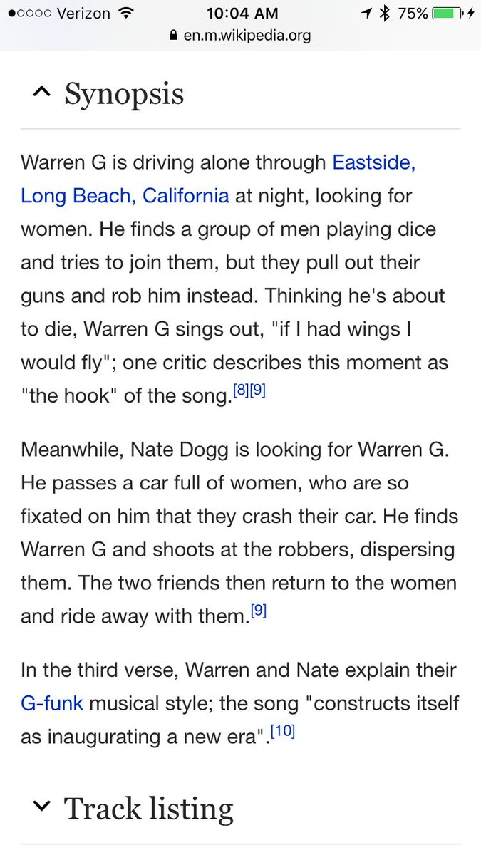 "The written synopsis on Wikipedia for Warren G's song ""Regulate"" is amazing https://t.co/pm5ZrLWZTn"