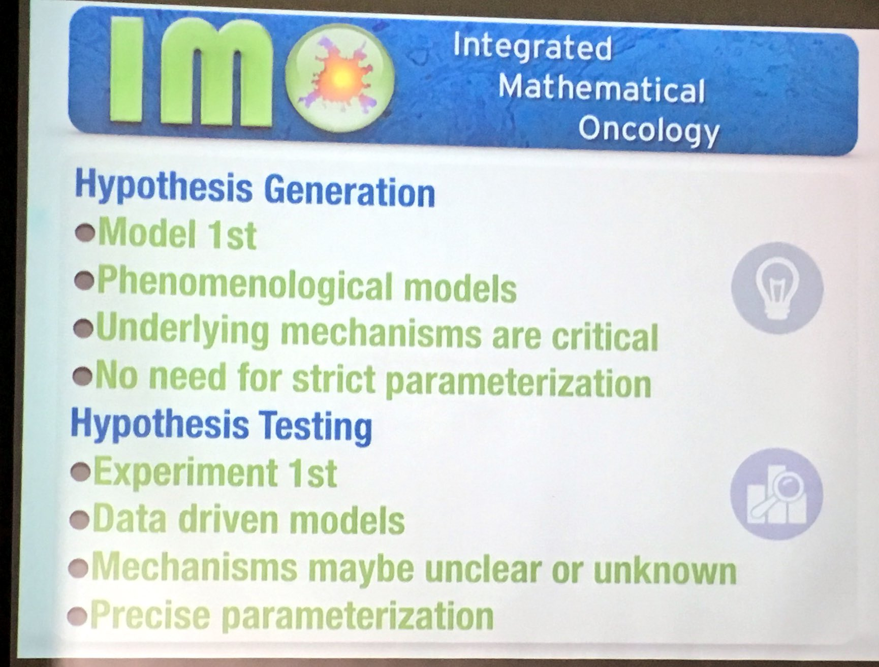 .@ara_anderson sums up role of #mathonco : H generation (suggest expts) & H testing (explain data) #sebmsc16 https://t.co/f0gbSEiKqK