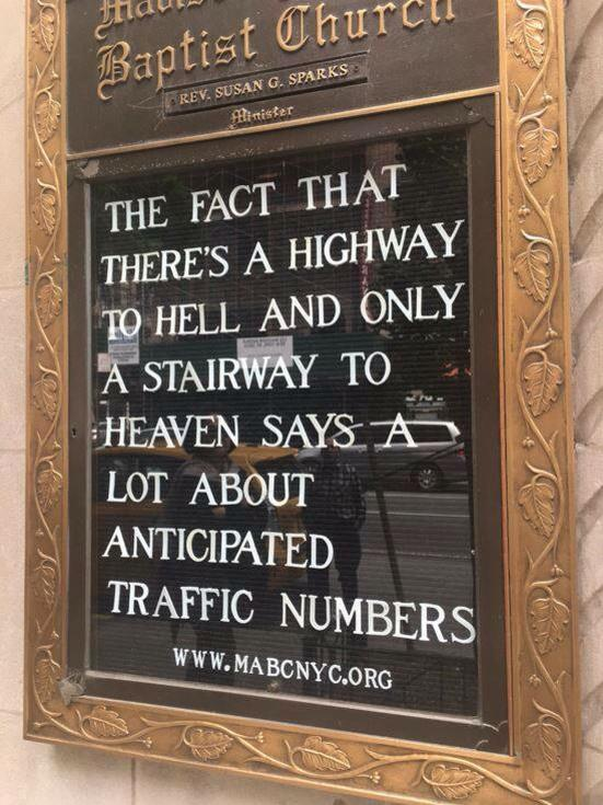 Church sign of the week with traffic report... https://t.co/E8qIi1JZAA