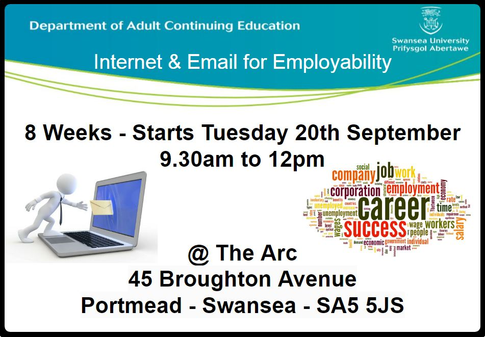 Internet & Email for Employability @ the Arc in Portmead. Please RT @DACE_SwanseaUni