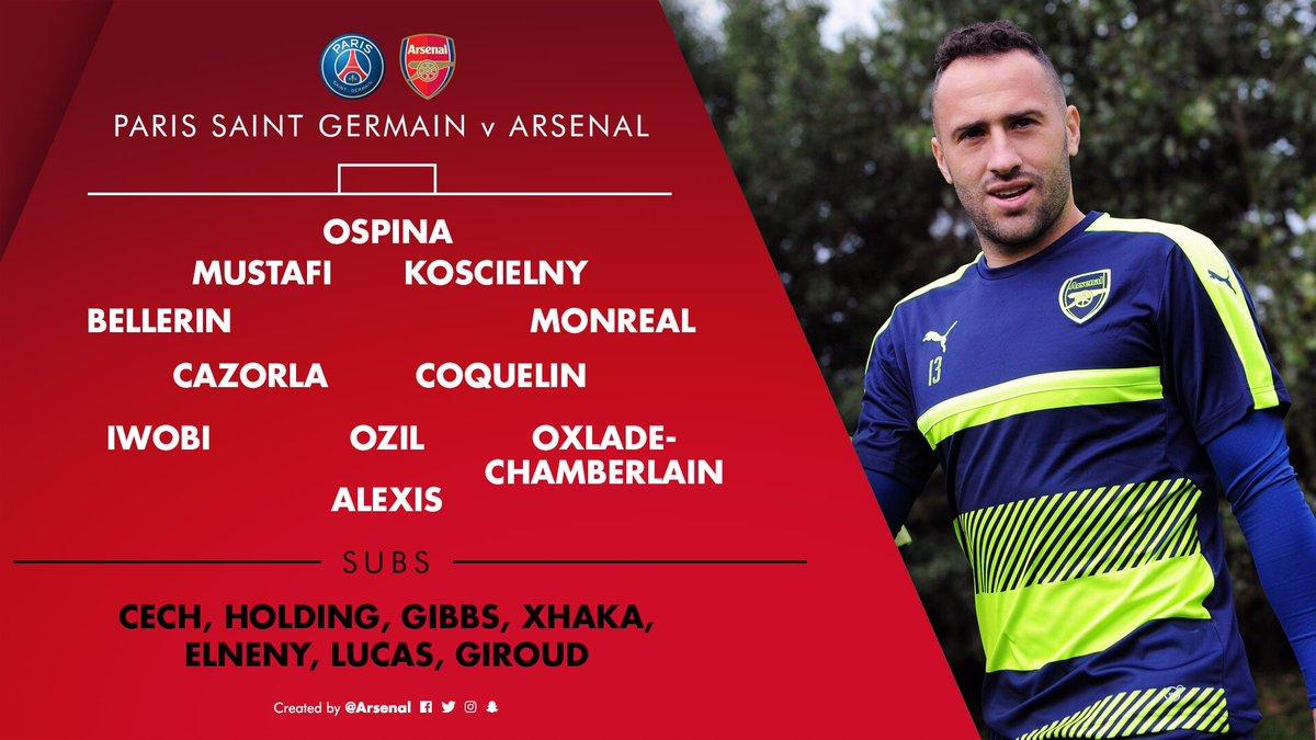 #DavidOspina TITULAR #Arsenal  Bellerini, Mustafi, Koscienly, Monreal, Cazorla, Coquelin, Iwobi, Ozil, Oxlade,Alexis https://t.co/hybVq78zQe