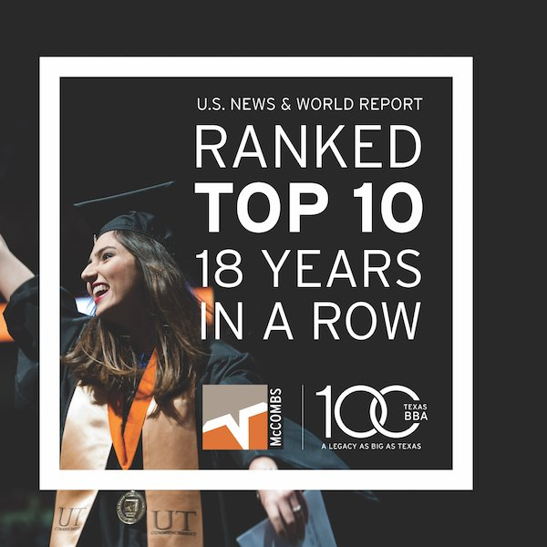 .@UTexasBBA rises to 6th in the latest @usnews ranking: https://t.co/BJT6uNYj5W #TexasBBA100 @UTAustin https://t.co/dGRMxceIF6