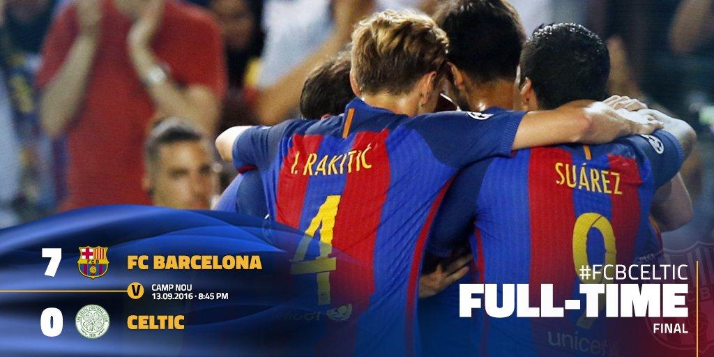 """FC Barcelona on Twitter: """"[FULL-TIME] FC Barcelona v Celtic (7-0) ⚽️ Messi  (3', 27', 60'), Neymar (50'), Iniesta (59'), Luis Suárez (75', 88')… """""""
