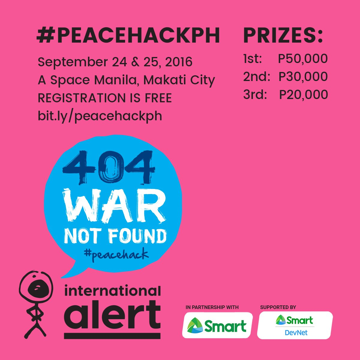 Alert PH's 1st #peacehack #hackathon is on Sept. 24&25! Register for free here: https://t.co/YaerjOVLCm @LiveSmart https://t.co/waf3W207Xw