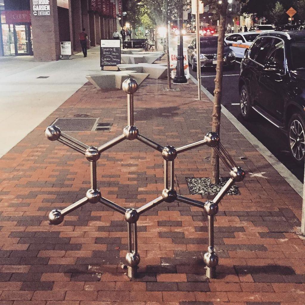 Hee hee - caffeine molecule bike rack spotted @kendall_square #onlyatmit #ilovemolecules #chemistrymajor #course5 https://t.co/lJmniT5yVU
