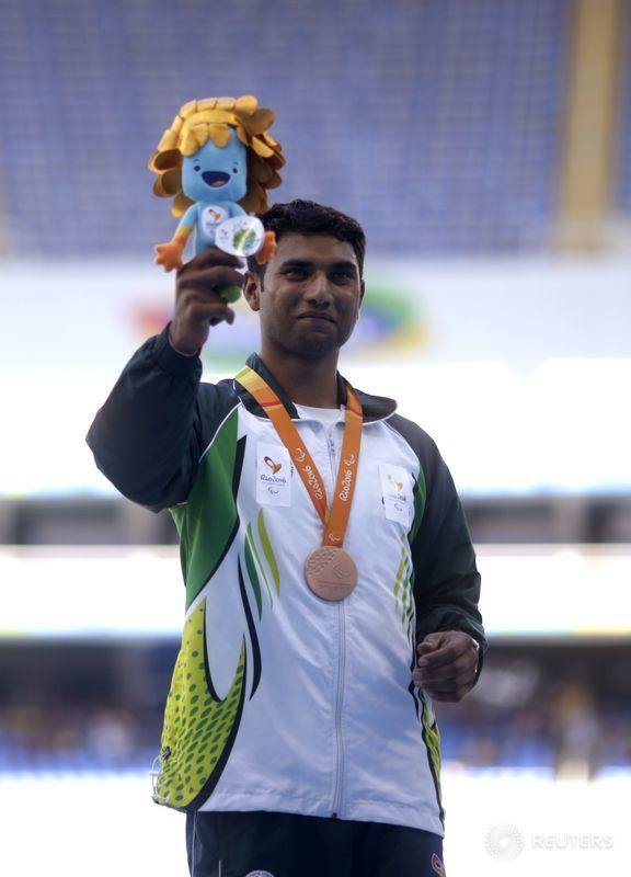 Haider Ali of Pakistan won #bronze in the men's long jump at the Rio #Paralympics, Sept. 13. Photo by Ricardo Moraes https://t.co/G6lzpD3rYg