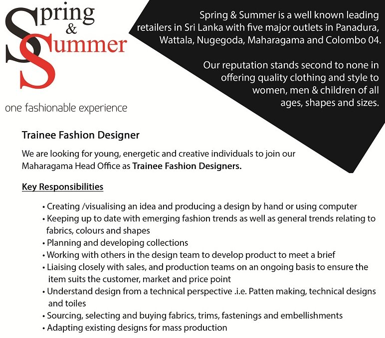 Careerfirst Lk On Twitter Trainee Fashion Designer Vacancies At Spring Summer Fashiondesign Jobs Applynow Lka Https T Co Gvdgmzsfct
