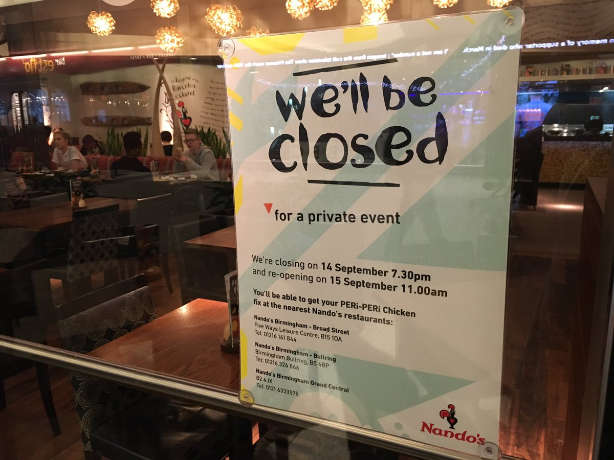Mailbox Birmingham on Twitter Nandos will be closed from 730pm
