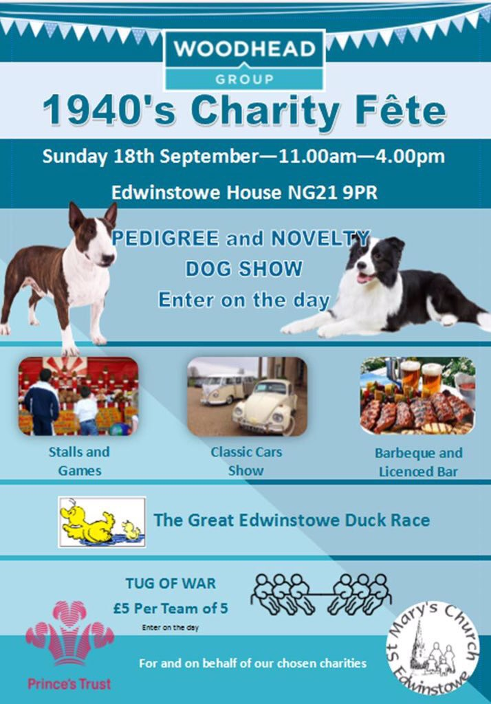 JOIN US: This Sunday 1940s themed charity Fete at @EdwinstoweHouse @HomeofRobinHood @CoopEdwinstowe @nottm_events