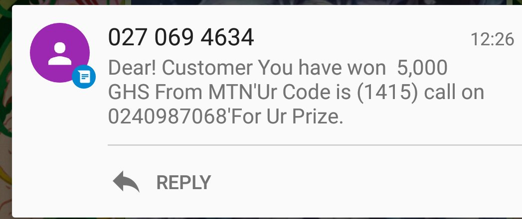 A Tigo number telling me I've won something on MTN