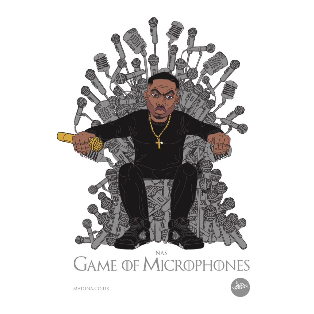 Happy Bornday @Nas illustration Game of Microphones by @Madina_Design #hiphop https://t.co/sNMczRxJ1g