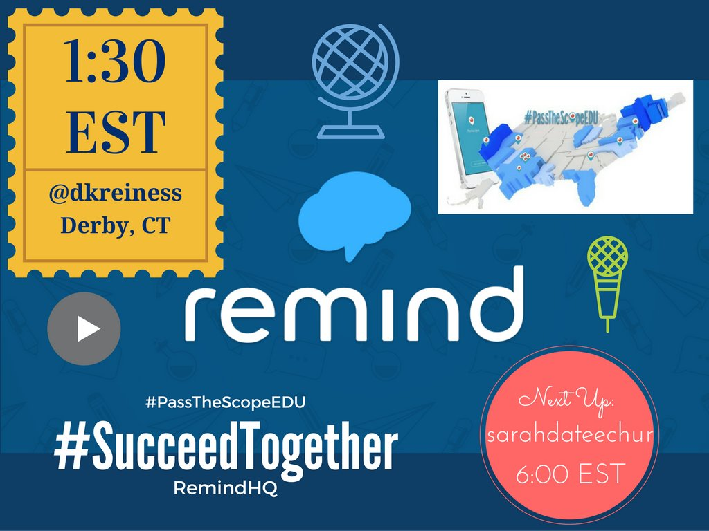 Join me at 1:30 est on Periscope to talk #succeedtogether with @RemindHQ and #passthescopeedu! #edchat https://t.co/BH2tTtVJhC