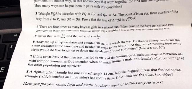British grammar school gives pupils homophobic maths question https://t.co/EQNFKGNHKH https://t.co/RMTxhZXtDM