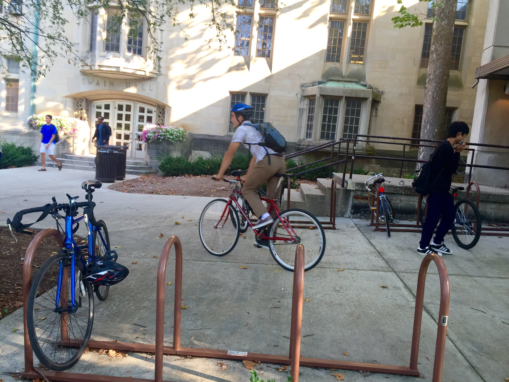 Now that class is done, Corben hops on his bicycle. Like many students, Corben bikes most places he needs to go. https://t.co/dj50E7j1bD