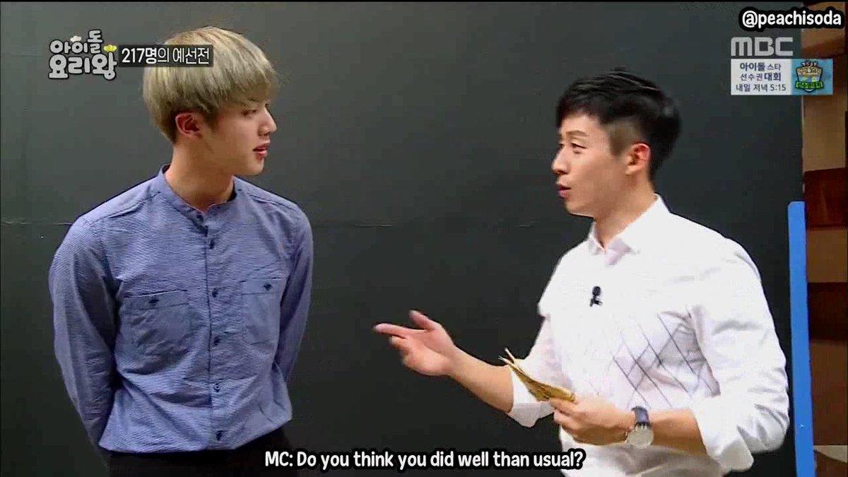 "peachisoda😎 on Twitter: ""[ENG SUB] 160914 Idol Chef King BTS Jin CUT https://t.co/QzIc8QUbQm https://t.co/AqIDhETrm1"""