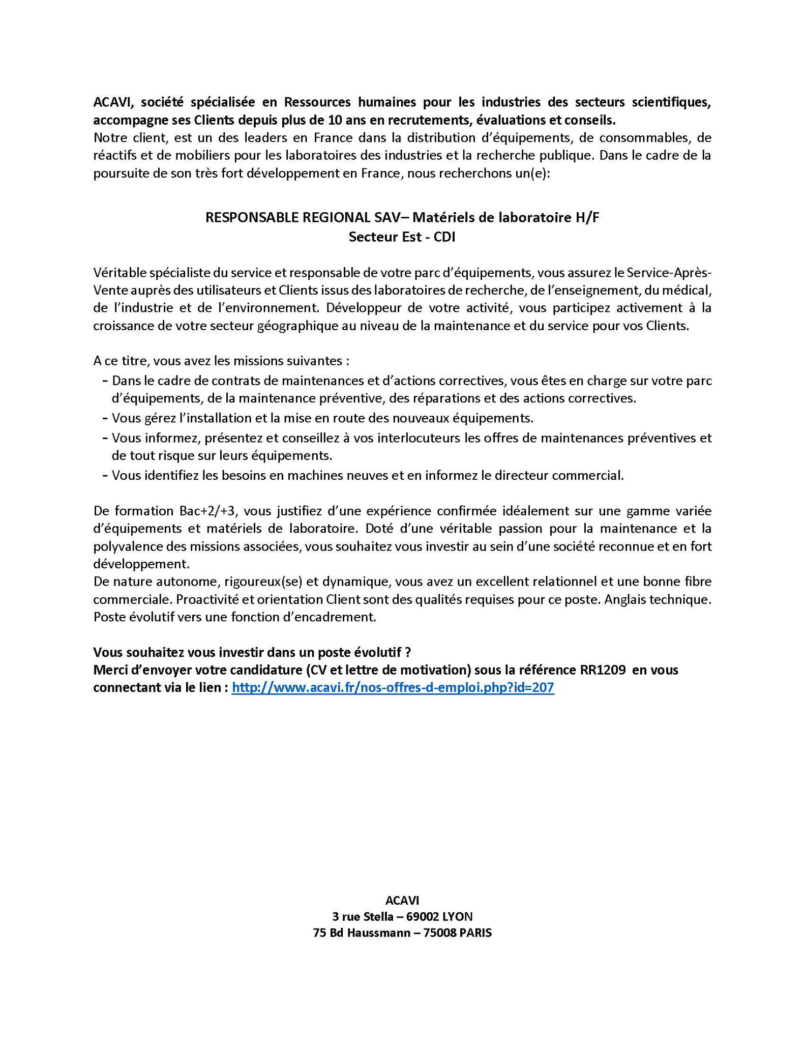 Acavi Jobs On Twitter Emploi Nouveauposte Responsable