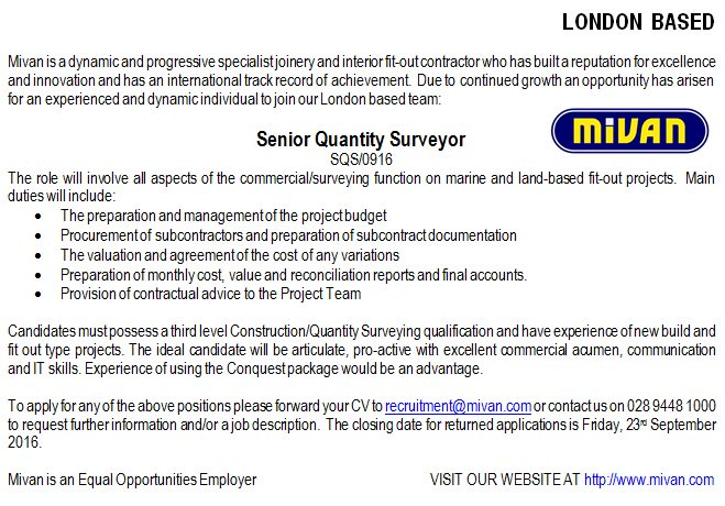Mivan On Twitter Recruitment Opportunity Senior Quantity Surveyor